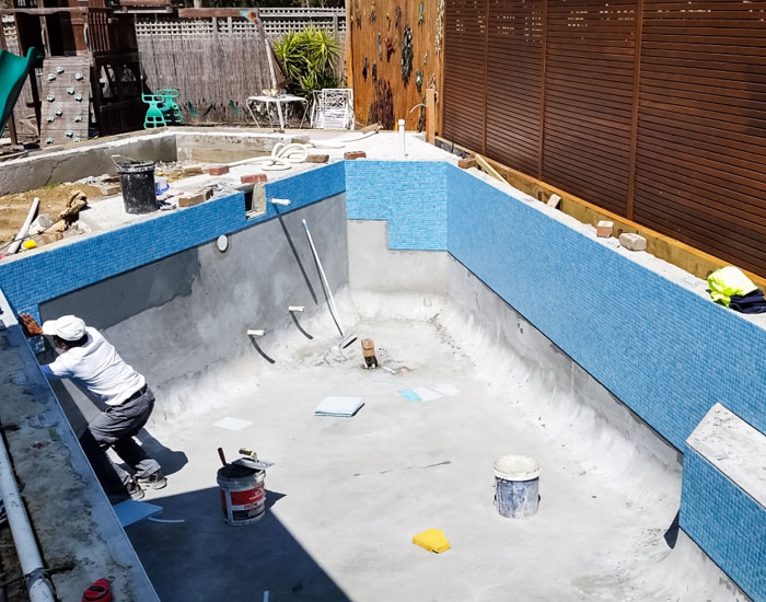 tiling and grouting new pool