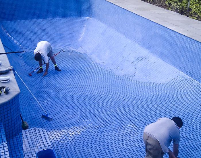 tiling a painted ingroud pool