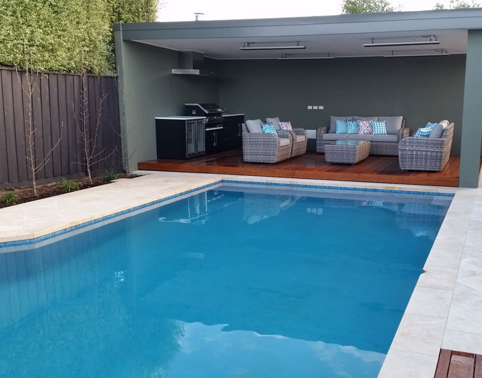 finished waterline tiled pool